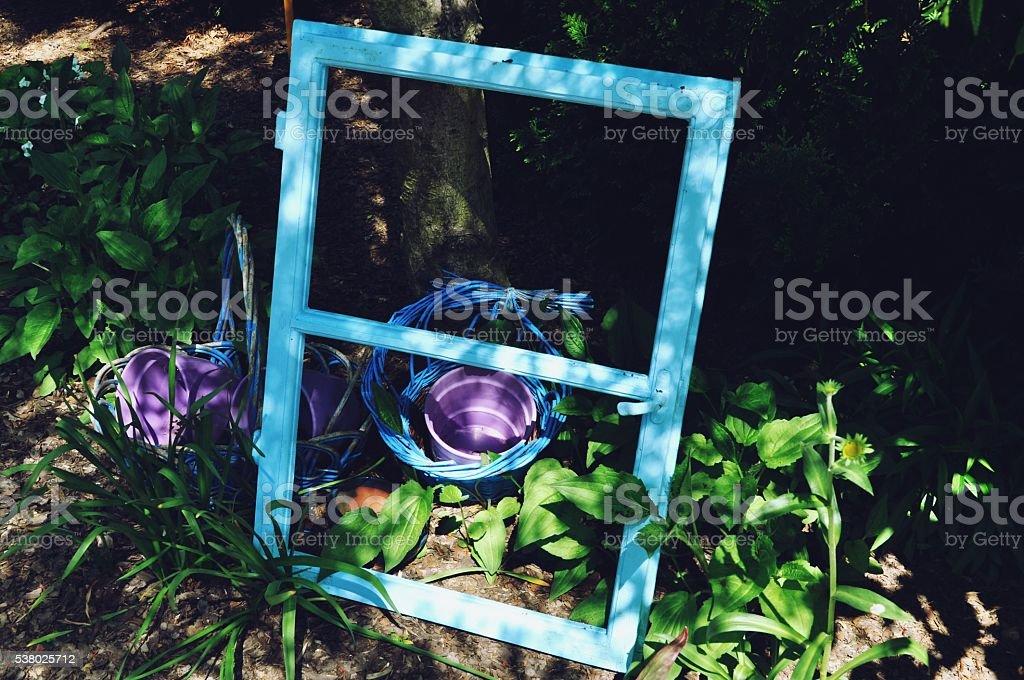 Blue window frame stock photo