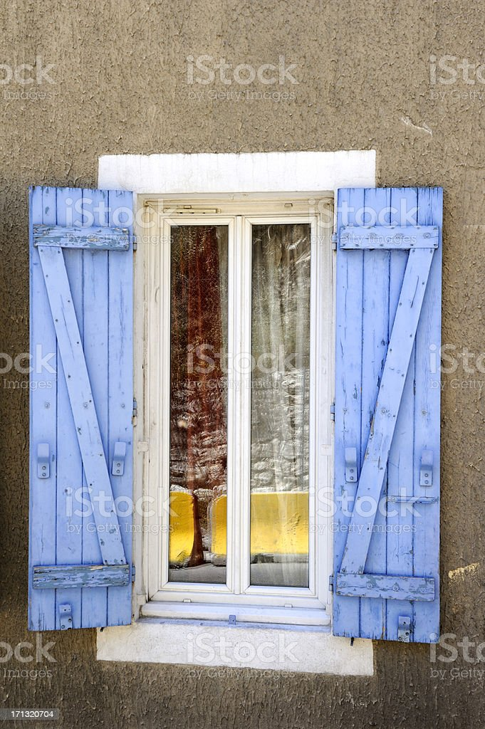 'Blue window shutters in L'Estaque, Provence, France' stock photo