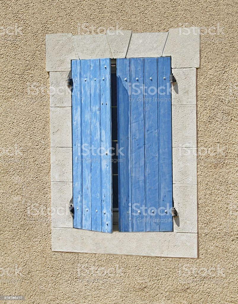 blue window shutters stock photo