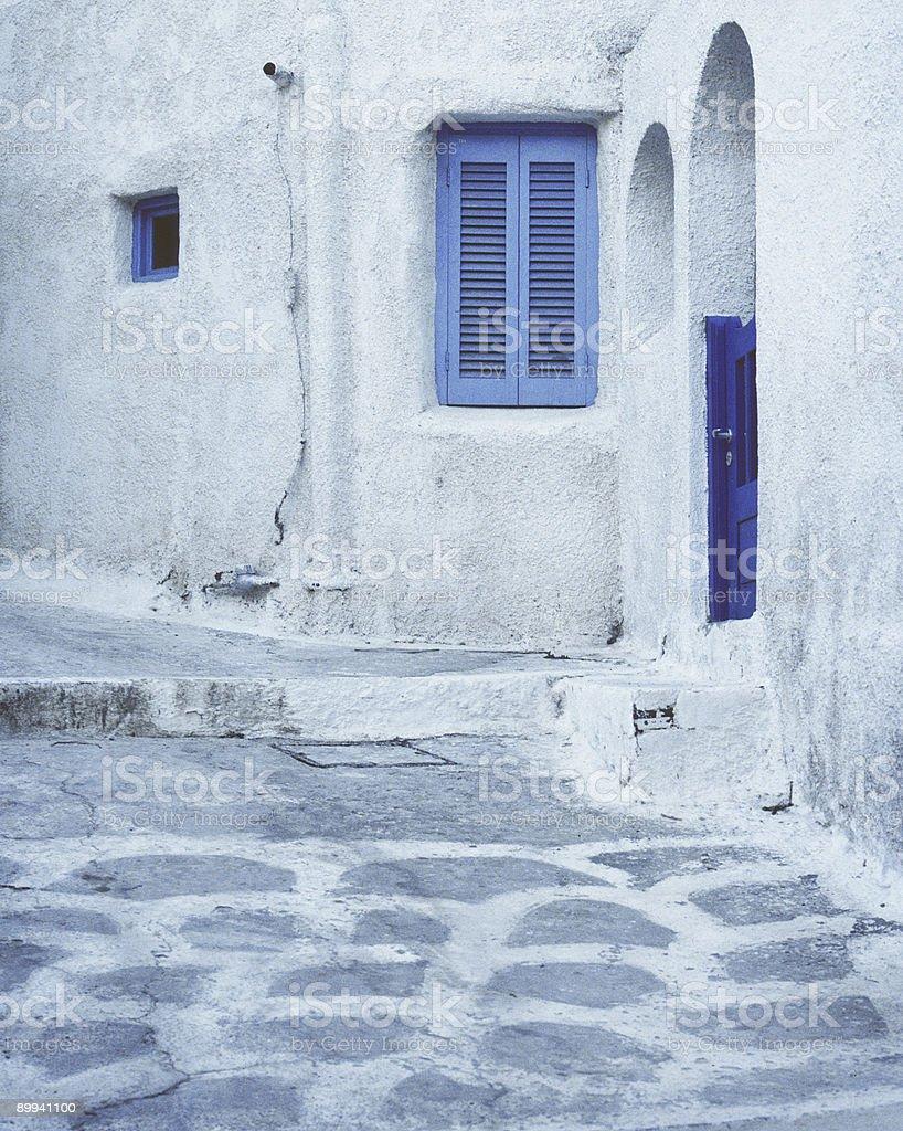 Blue Windows and A Door, Naxos, Greece royalty-free stock photo