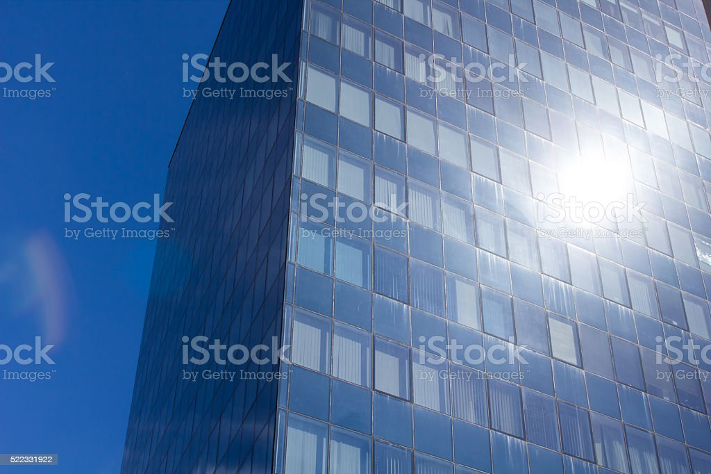 Blue windows of the new business center stock photo