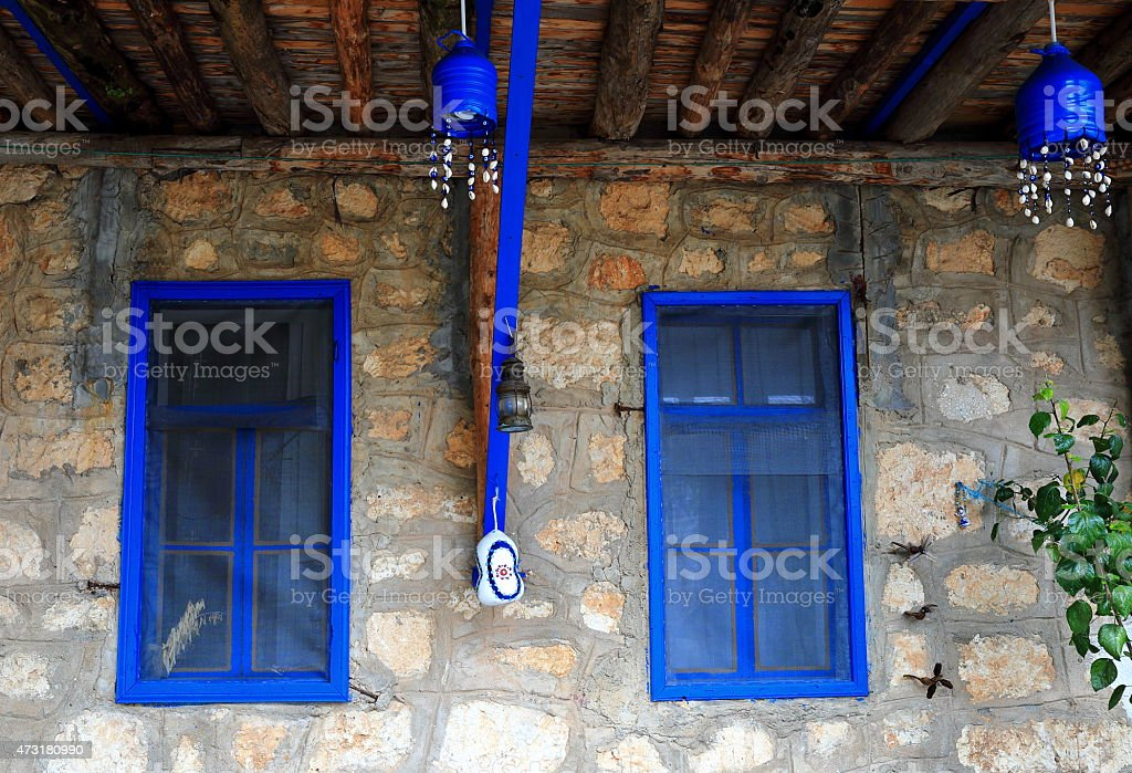 Blue windows-Ucagiz-Turkey stock photo
