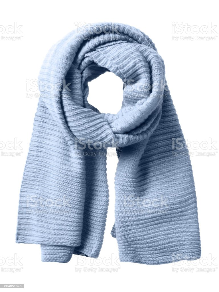 Blue winter scarf isolated on white stock photo