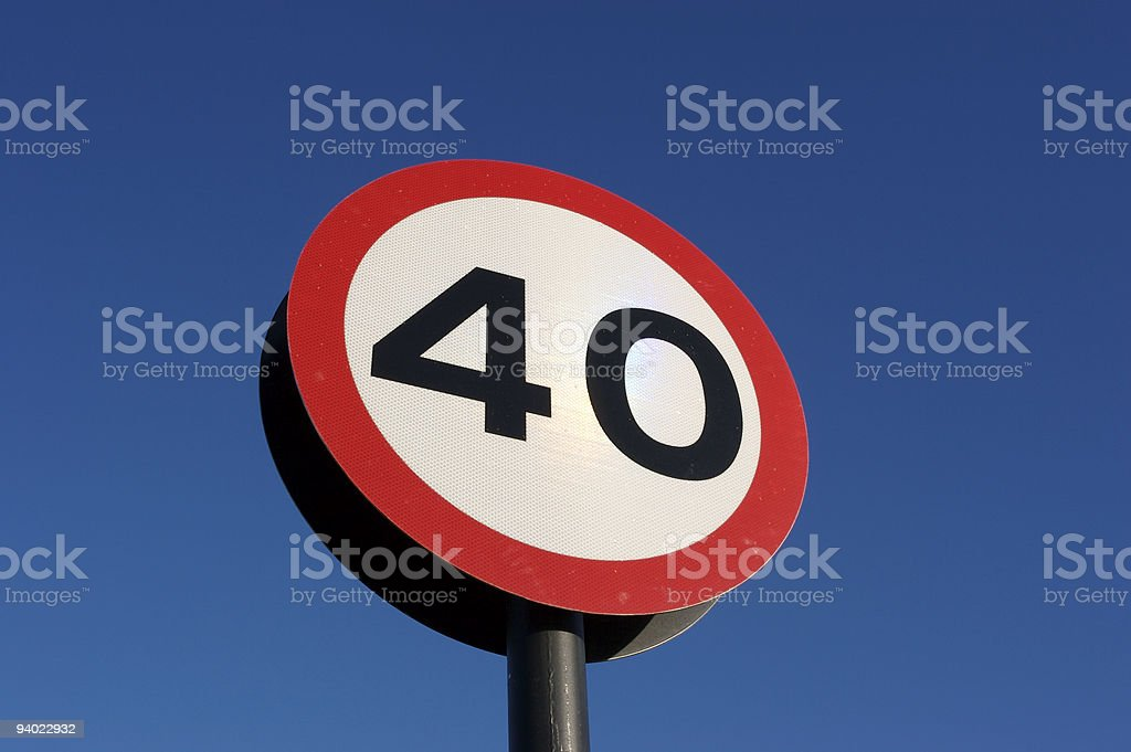 Blue winter sky and 40 sign stock photo