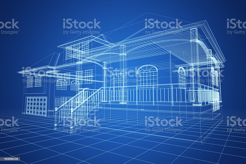 Blue Wireframe Villa royalty-free stock photo