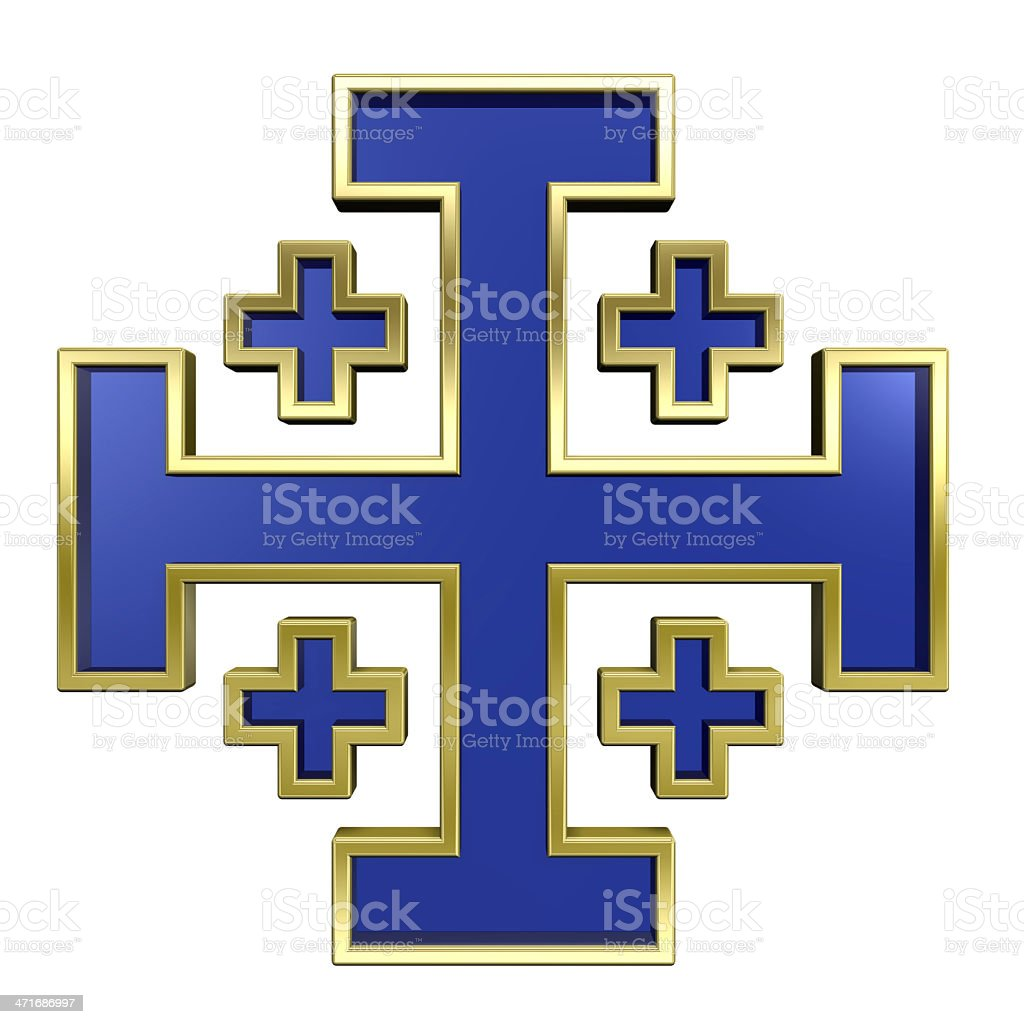 Blue with gold frame heraldic cross isolated on white. royalty-free stock photo