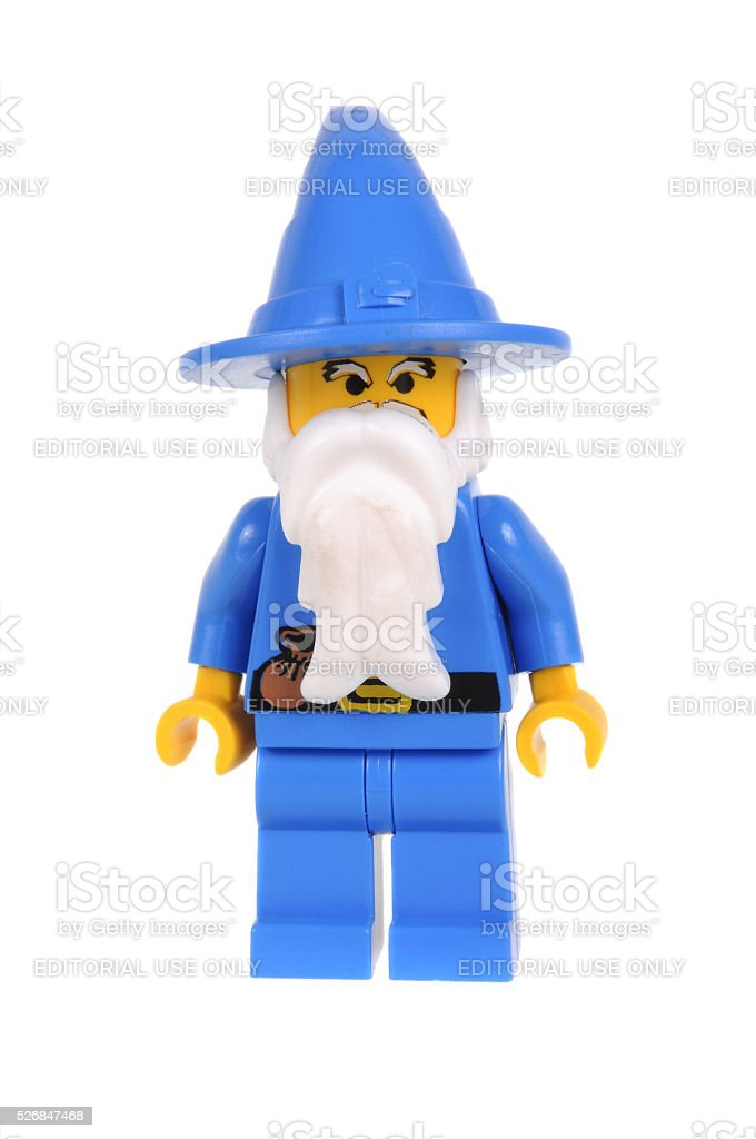Blue Wizard Lego Castle Minifigure stock photo