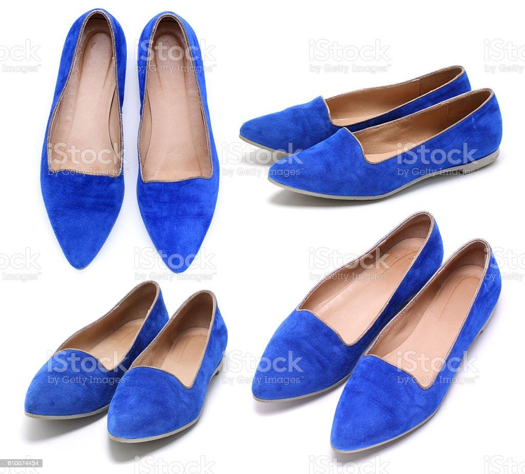 Blue Woman Flat Shoes stock photo