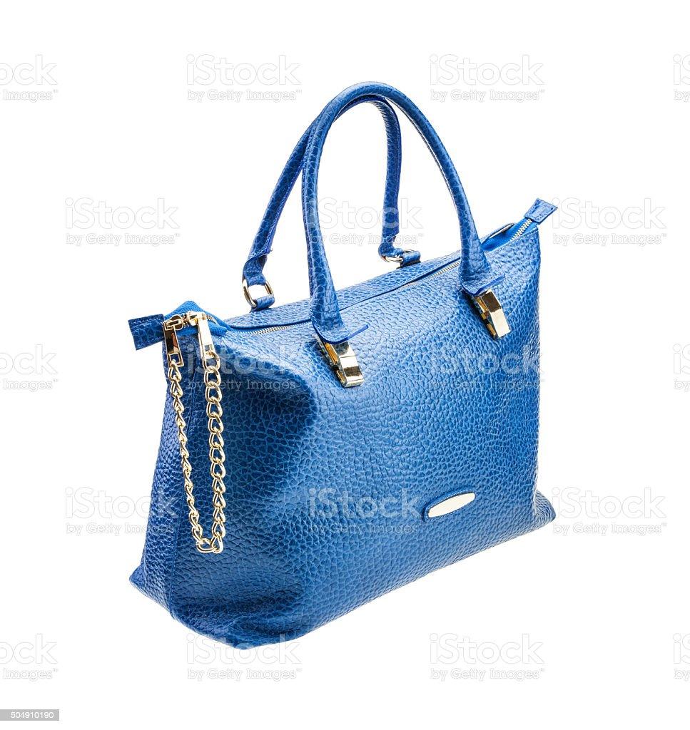 Blue womens bag isolated on white background. stock photo