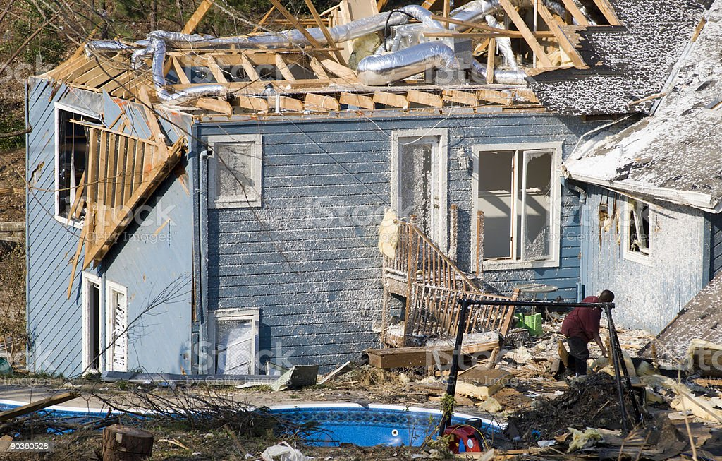 Blue Wood Framed House Destroyed by an EF2 Tornado stock photo