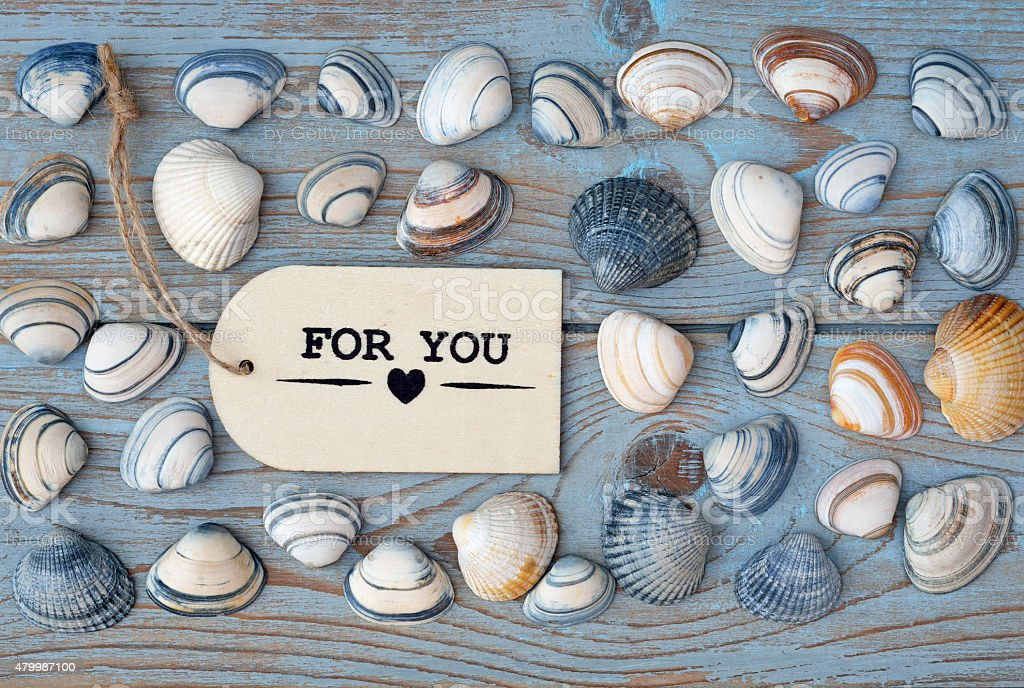 blue wooden background ,  sea shells and with love label stock photo