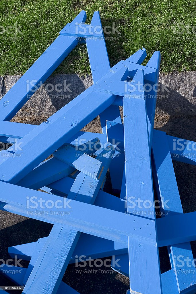 Blue wooden barricade stands royalty-free stock photo