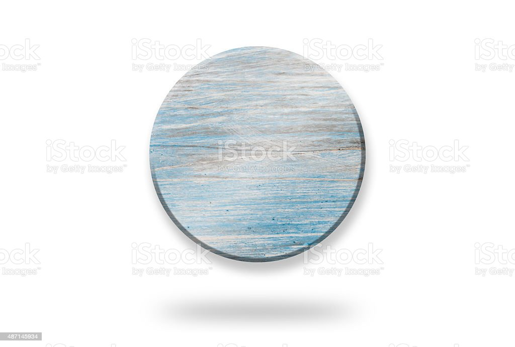 Blue Wooden Circle Shaped Sign Banner Badge stock photo