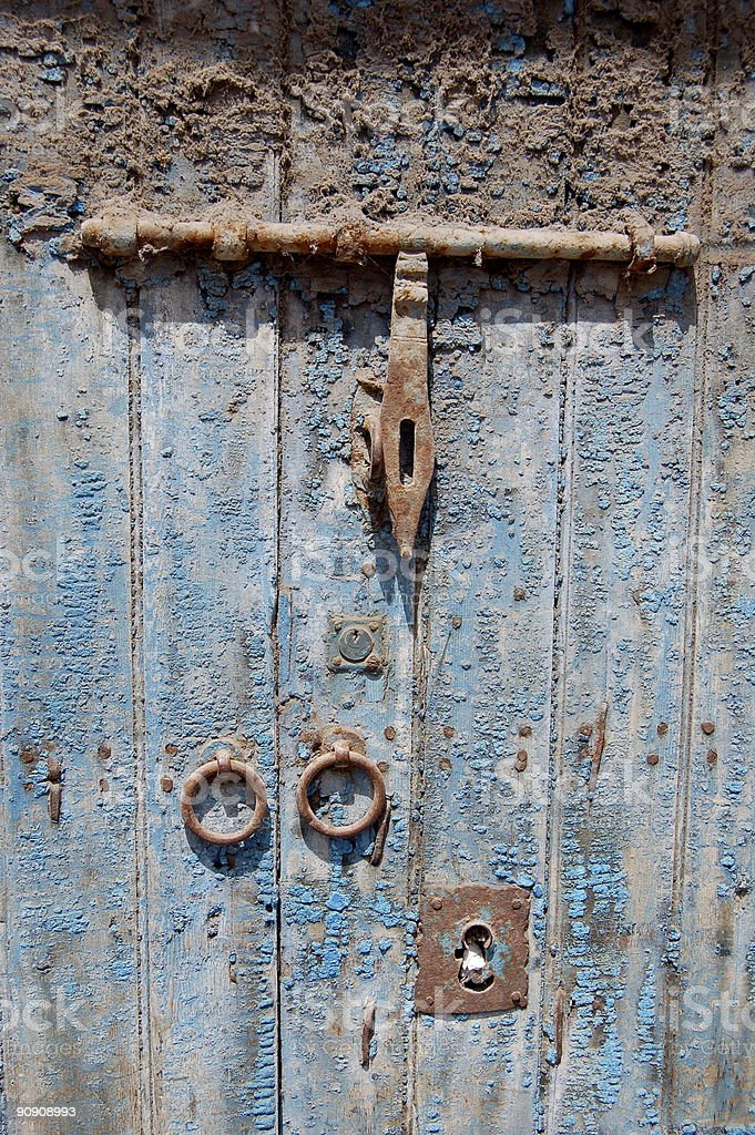 Blue Wooden Door with Brass Latch royalty-free stock photo