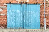 blue wooden gate