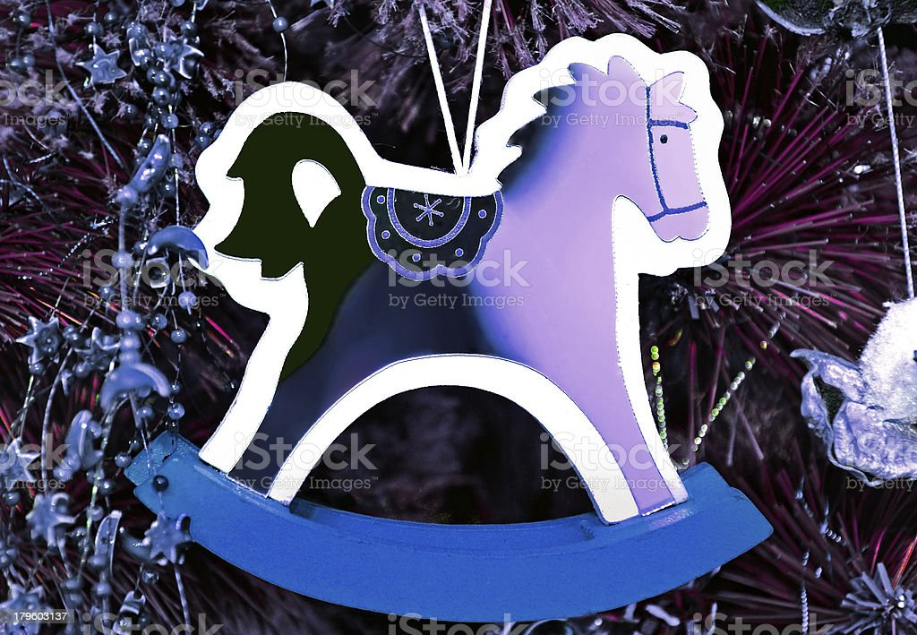 Blue wooden horse symbol 2014 new year royalty-free stock photo