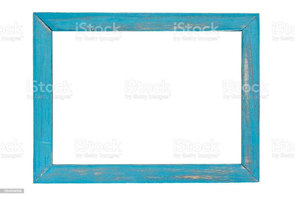 Blue wooden photo frame on white background stock photo