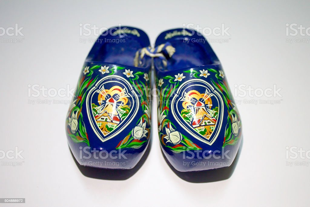 Blue Wooden Shoes stock photo