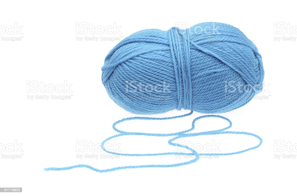 Blue woolen a thread royalty-free stock photo