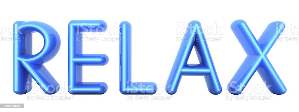 Blue word 'Relax' stock photo