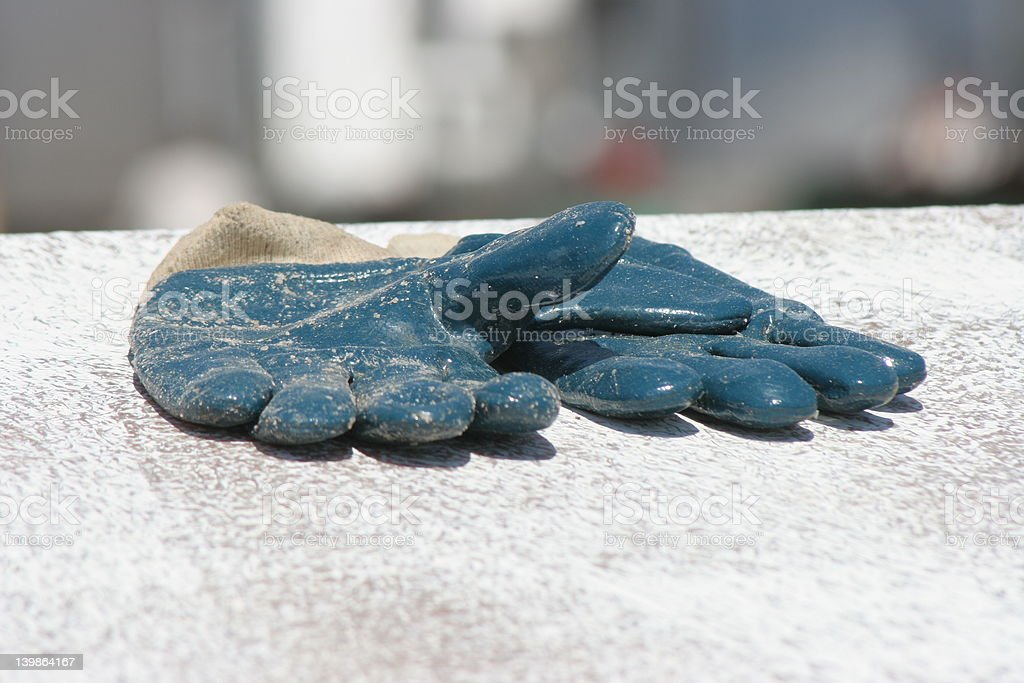 blue work gloves royalty-free stock photo