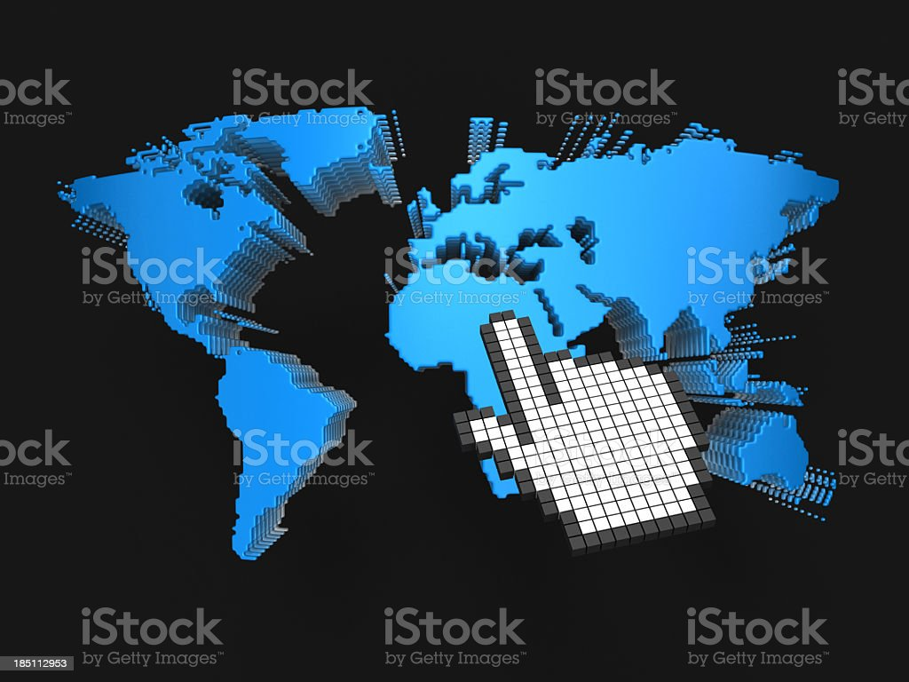 Blue World and Hand Cursor stock photo