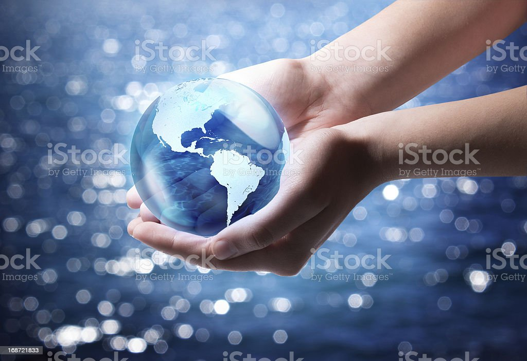 blue world in the hand - Usa stock photo