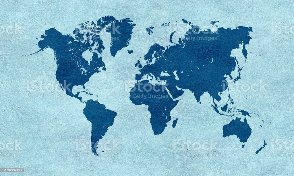 Blue world map on blue paper stock photo