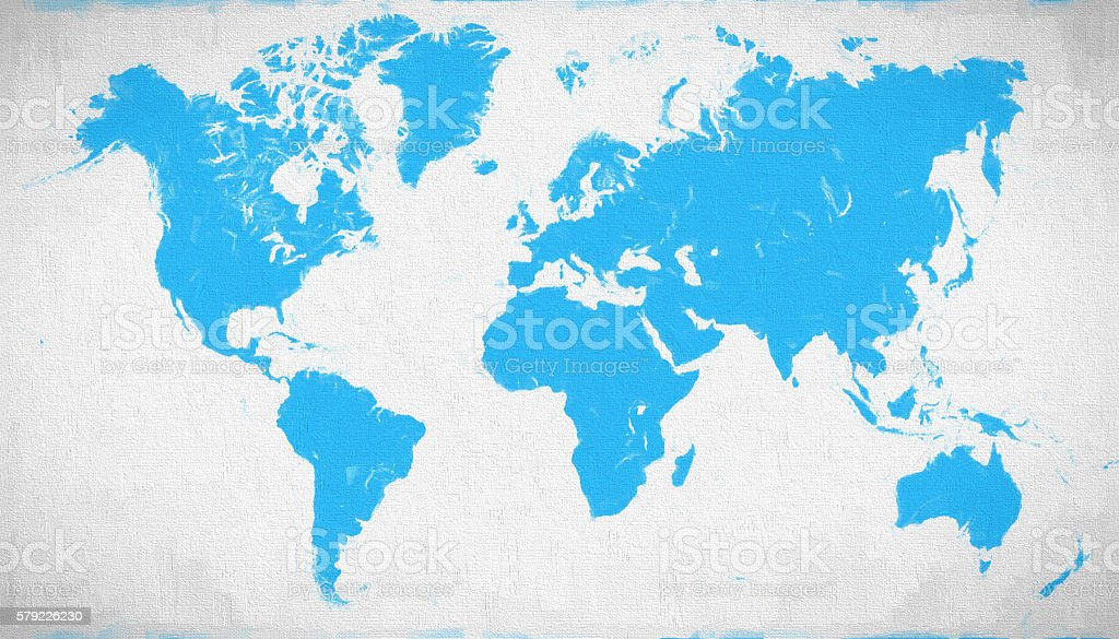 Blue World map on canvas background stock photo