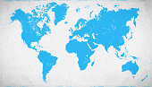 Blue World map on canvas background