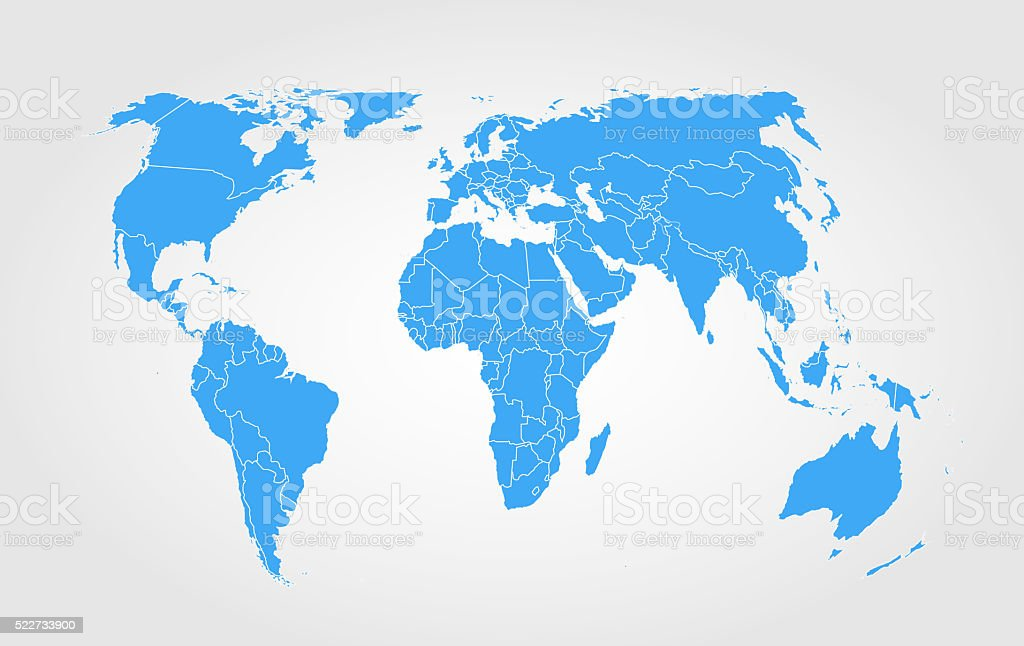 Blue world map on gradient background stock photo