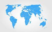 Blue world map on gradient background