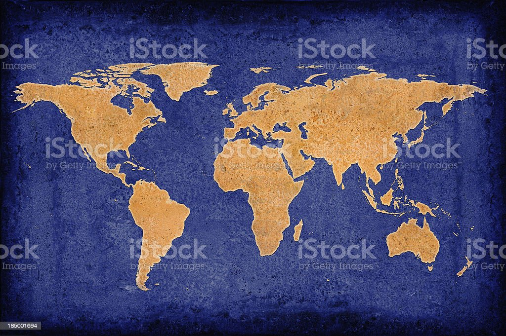 Blue World Map royalty-free stock photo