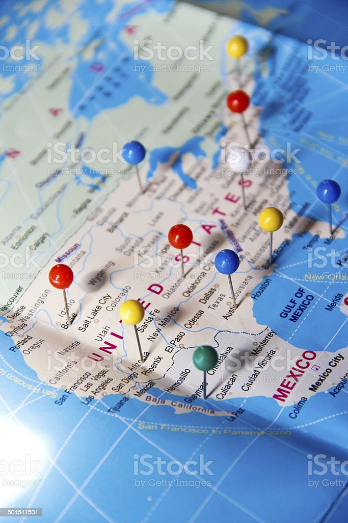 Blue world map with colorful Pin stock photo