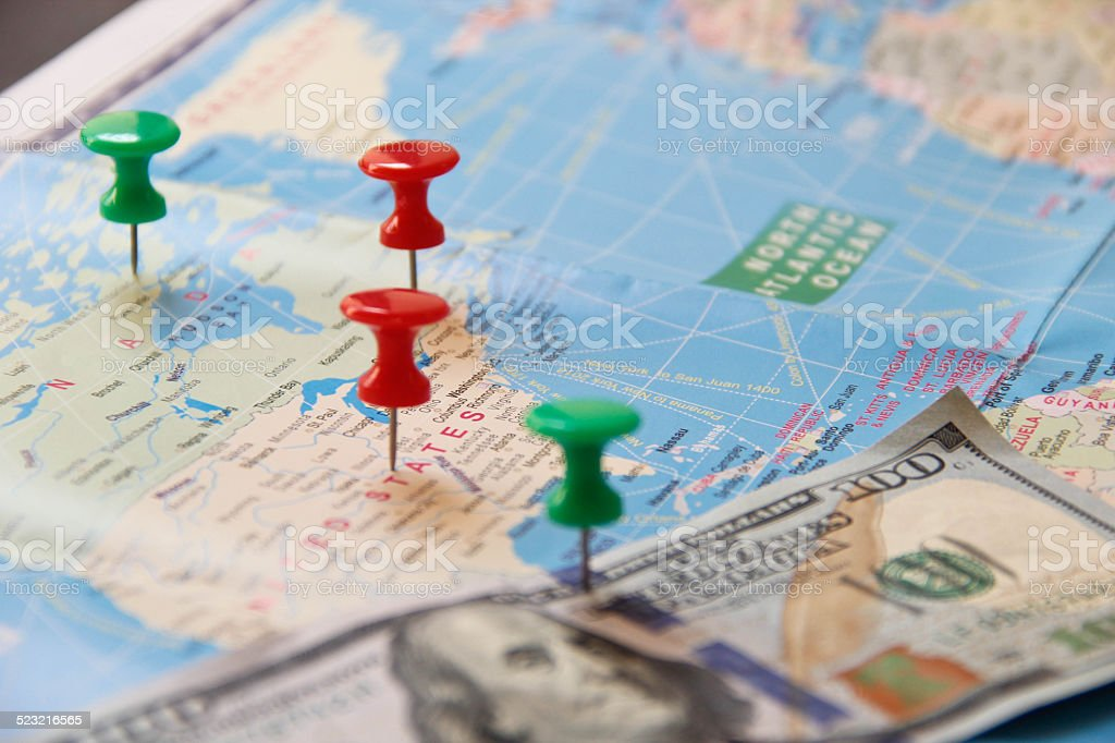 Blue world map with colorful Straight Pin stock photo