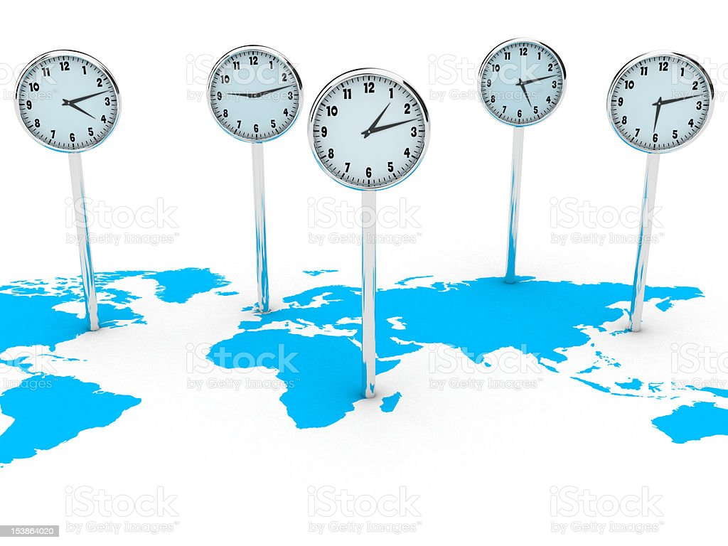 Blue world map with five clocks showing different time zones stock photo