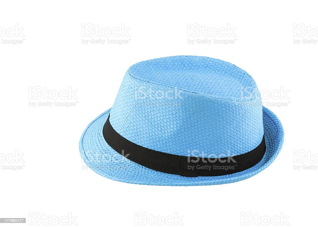 Blue woven hat stock photo