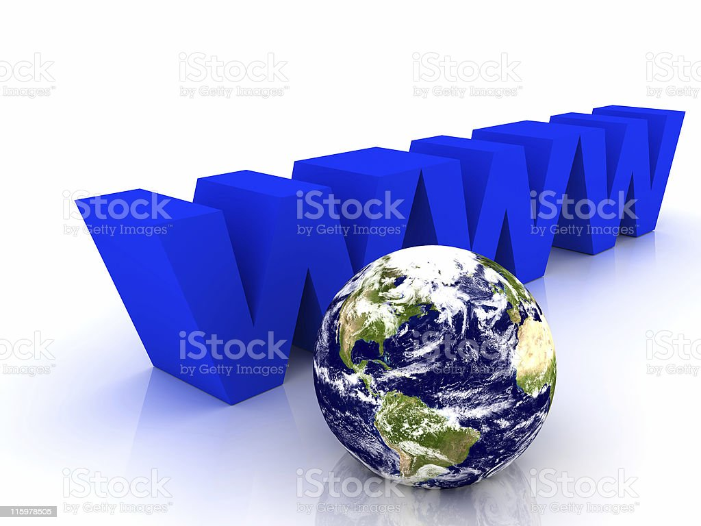 Blue www and Earth royalty-free stock photo