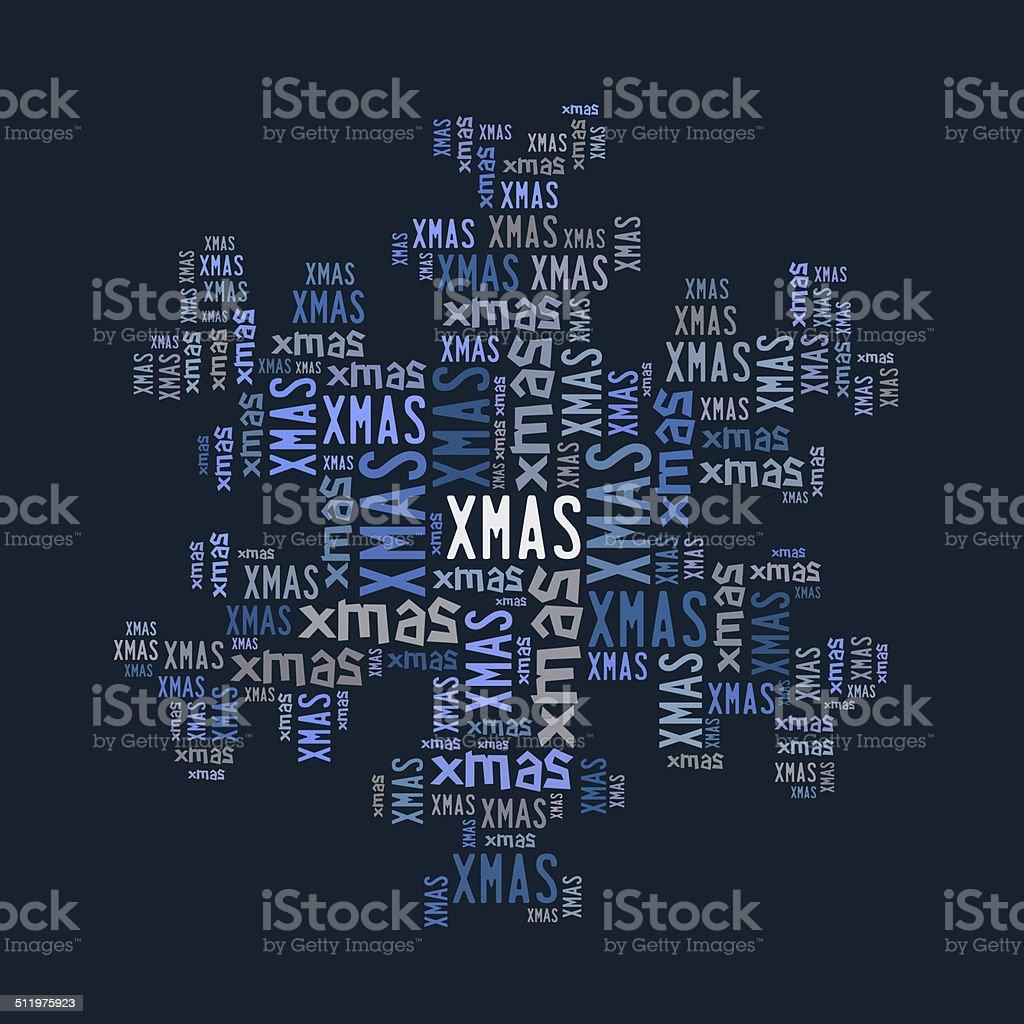 Blue xmas word cloud royalty-free stock photo