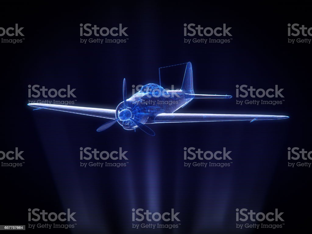 blue x-ray Aircraft  in Hologram Wireframe Style.3D rendering. stock photo