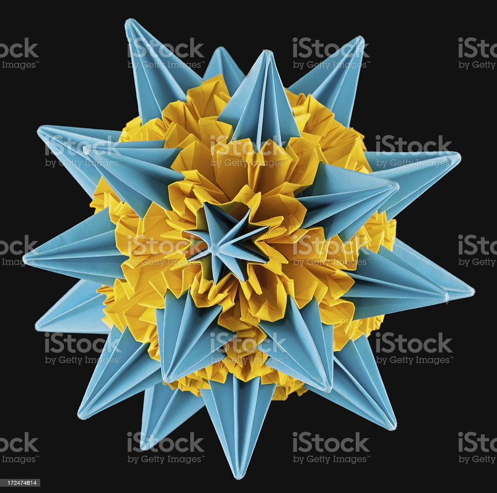 Blue yellow kusudama star royalty-free stock photo