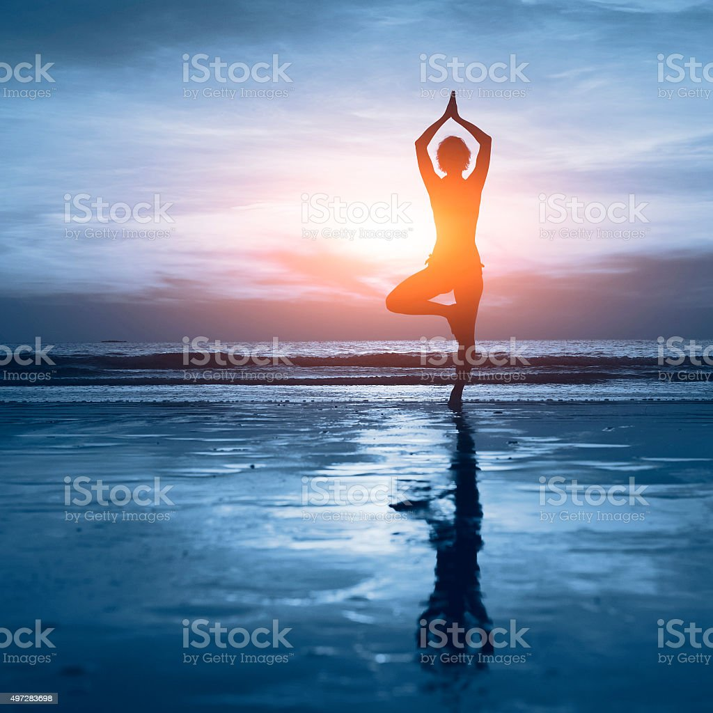 blue yoga background stock photo