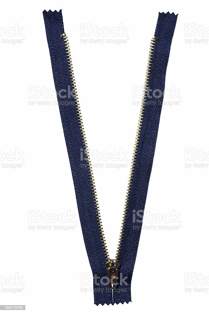 blue zip, open, isolated stock photo