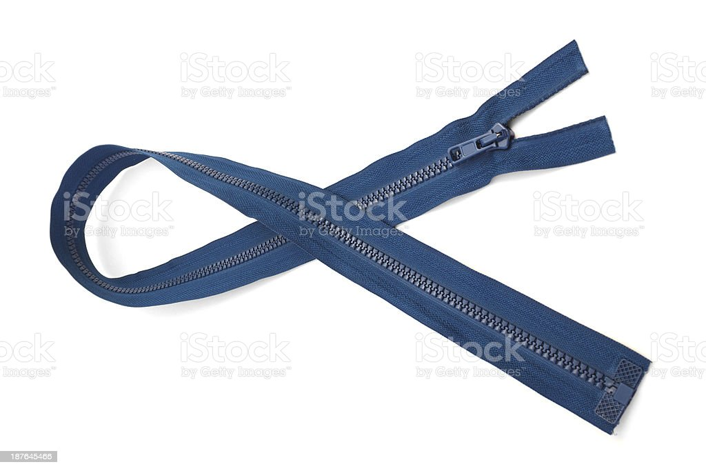 Blue zipper closeup isolated on white background royalty-free stock photo