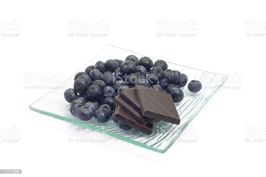 Blueberries and Chocolate royalty-free stock photo