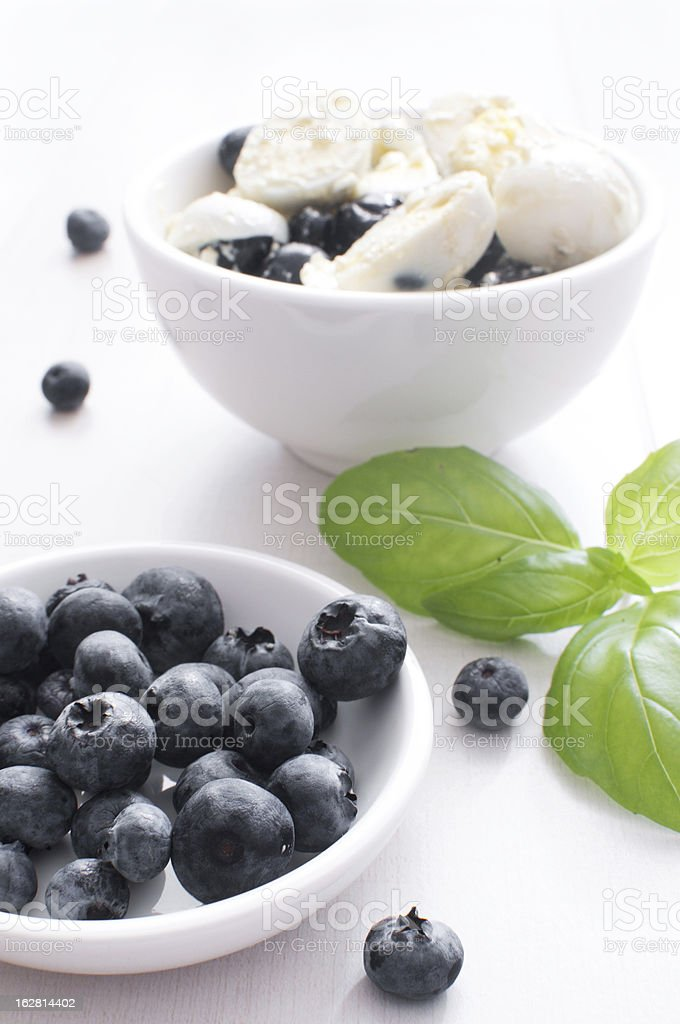 Blueberries and eggs salad stock photo
