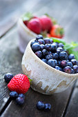 Blueberries and Strawberries in a Ceramic Bowl