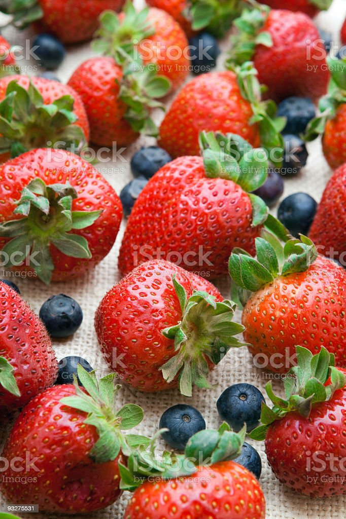Blueberries and Strawberries royalty-free stock photo