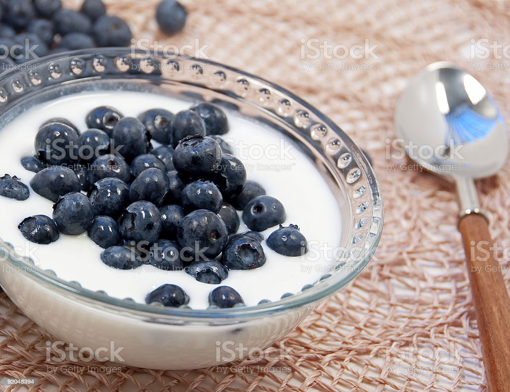 blueberries and yogurt royalty-free stock photo