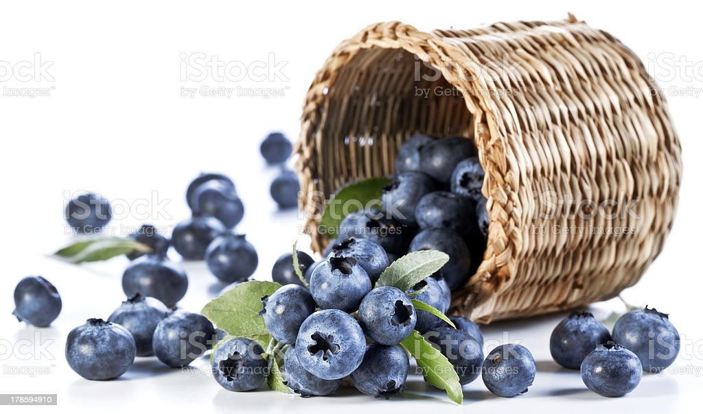 Blueberries fall of the basket. stock photo